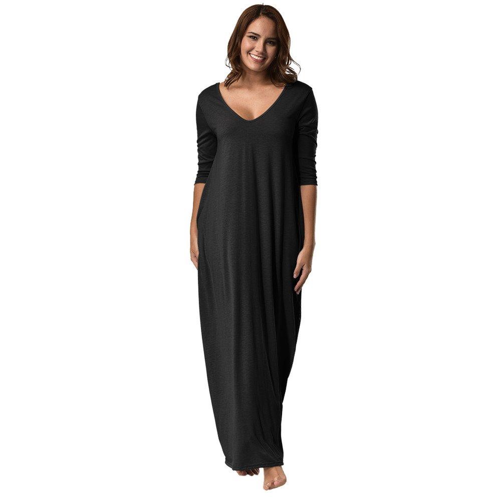 Moda Donne Taglia Grossa Vestito Manica 3/4 V-Collo Casuale Lungo Sciolto Pieghe Partito Vestito MJJ70918296