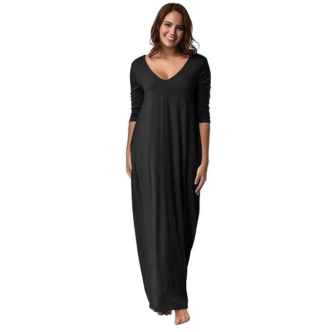 Kangma Women Plus Size Night Dress 3/4 Sleeve V-Neck Casual Long Loose  Pajama Night Shirts Nightgowns