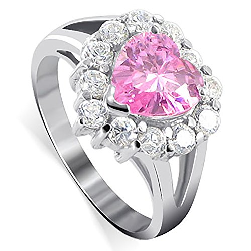 Gem Avenue 925 Sterling Silver Heart Pink ice Cubic Zirconia with Accent Ring (Heart Ice Pink Ring)
