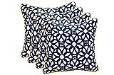 Set of 4 In Outdoor 17'' Square Decorative Throw Pillows - Sunbrella Lux Indigo w/ Yellow Cording