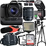 Canon EOS 80D DSLR Camera w/Canon 18-55mm STM Lens Kit + Pro Photo & Video Accessories Including 128GB Memory, Speedlight TTL Flash, Battery Grip, LED Light, Condenser Micorphone, 60 Tripod & More