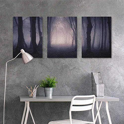 HOMEDD Oil Painting Modern Wall Art Posters Sticker,Forest Path Through Dark Deep in Forest with Fog Halloween Creepy Twisted Branches Picture,Office Art Decoration 3 Panels,16x31inchx3pcs Pink Brown ()