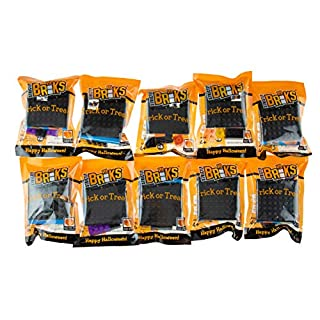 Strictly Briks - Halloween Building Bricks Party Favors - Trick or Treat Bags with Toys - 10 Goodie Bag Fillers - Handout a Healthy Alternative to Candy