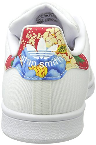 adidas Stan Smith, Zapatillas para Mujer Blanco (Footwear White/footwear White/power Red)