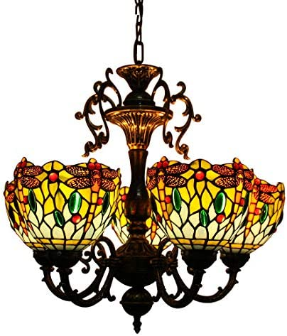 Makenier Vintage Tiffany Style Blue Stained Glass 5 Arms Dragonfly Floral Chandelier