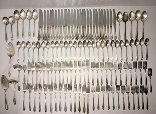 Oneida Community Silverware Tudor Plate Lot of 127 Pieces Queen Bess II Pattern Vintage