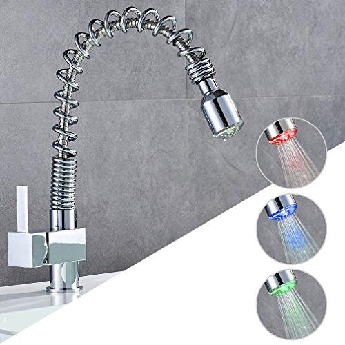 Auralum LED Kitchen Faucet With 3 Color Change,360 Degree...