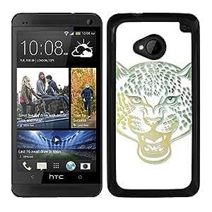 Funda carcasa para HTC M7 diseño leopardo colores borde negro