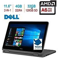 2018 Dell Inspiron 11 3185 11.6 2-in-1 HD Touchscreen Laptop/Tablet PC, 7th Gen AMD A6-9220e up to 2.9GHz, 4GB 2400MHz DDR4 RAM, 32GB eMMC + 128GB SD, HDMI, Bluetooth, WiFi, MaxxAudio, Windows 10