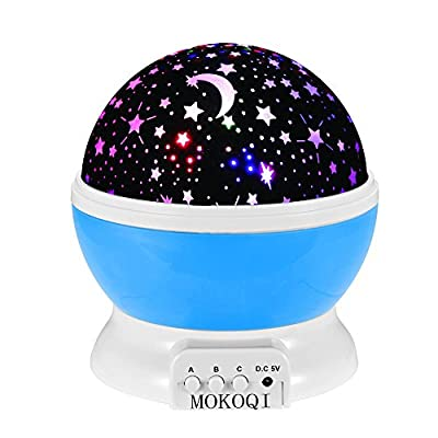 Night Lighting Lamp [ 2 Gneration, 4 LED Beads, 3 Model Light, 4.9 FT (1.5M) USB Cable ] Romantic Rotating Cosmos Star Sky Moon Projector , Rotation Night Projection Kid Bedroom Lamp for Children