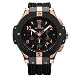 Mens Sports Military Wrist Watch,Rose Gold Analog Quartz Silicone Watches with Big Dial,Waterproof Fashion Casual Wristwatch
