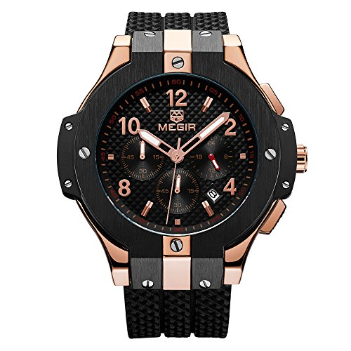 Mens Sports Military Wrist Watch Rose Gold Analog Quartz Silicone Watches With Big Dial Waterproof Fashion Casual Wristwatch