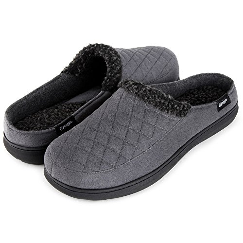 Zigzagger Mens Suede Fabric Memory Foam Slippers Fleece Lined Slip On Clog House Shoes Indoor/Outdoor,Grey,7-8 D(M) US