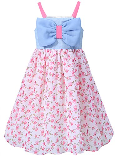 Bonny Billy Girl's Big Bow Floral Spaghetti String Casual Dress 4-5 Years Pink