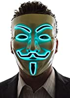 Neon Nightlife Men's Light Up V for Vendetta, Guy Fawkes Mask, One Size