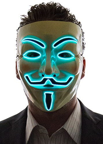 Neon Nightlife Men's Light Up V for Vendetta, Guy Fawkes Mask, One Size, Aqua]()