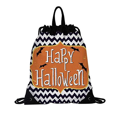 Halloween Canvas Drawstring Bag,Cute Halloween Greeting Card Inspired