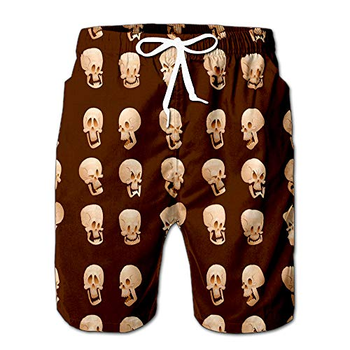 Quick Dry Skull Bones Human Face Halloween Horror Crossbones Fear Scary Beach Shorts Swim Trunks Board Shorts M -