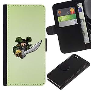KLONGSHOP // Tirón de la caja Cartera de cuero con ranuras para tarjetas - Pirate & Sword - Apple Iphone 6 //