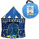 Children Play Tent Boys Girls Prince House Indoor Outdoor Blue Foldable Tent with Case by Creatov …