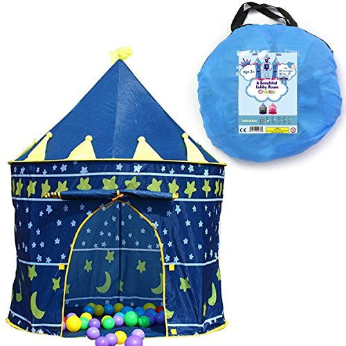Children Play Tent Boys Girls Prince House Indoor Outdoor Blue Foldable Tent with Case by Creatov - Kids Play Tent Indoor