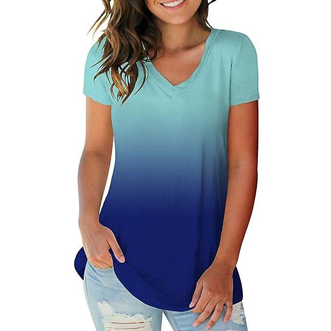 Damen Sommer Blusen V-Ausschnitt T-shirt Lässig Tunika Oberteil Hemd Kurzarm Top