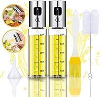 Oil Sprayer Olivenöl Sprüher zum Kochen 4 in 1 nachfüllbare Öl- und Essigspender Flasche mit Backpinsel, Flaschenbürste...
