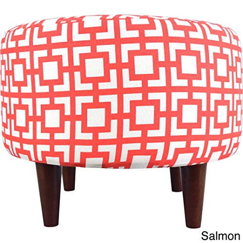MJL Furniture Designs Sophia Collection Fabric Upholstered Round Footrest Ottoman with Round Espresso Finished Legs, Gigi Series, Salmon by MJL Furniture Designs