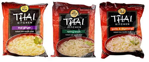 (Simply Asia Thai Kitchen Instant Rice Noodle Soup 3 Flavor 9 Bag Variety Bundle: (3) Thai Ginger, (3) Spring Onion, and (3) Garlic Vegetable, 1.6 Oz Ea (9 Tot))