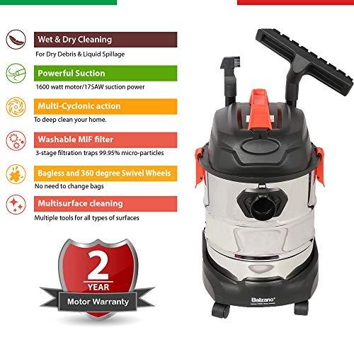 Balzano Wet and Dry Professional K-606 1600 Watt Vacuum Cleaner with Blower Function, 25-litres...