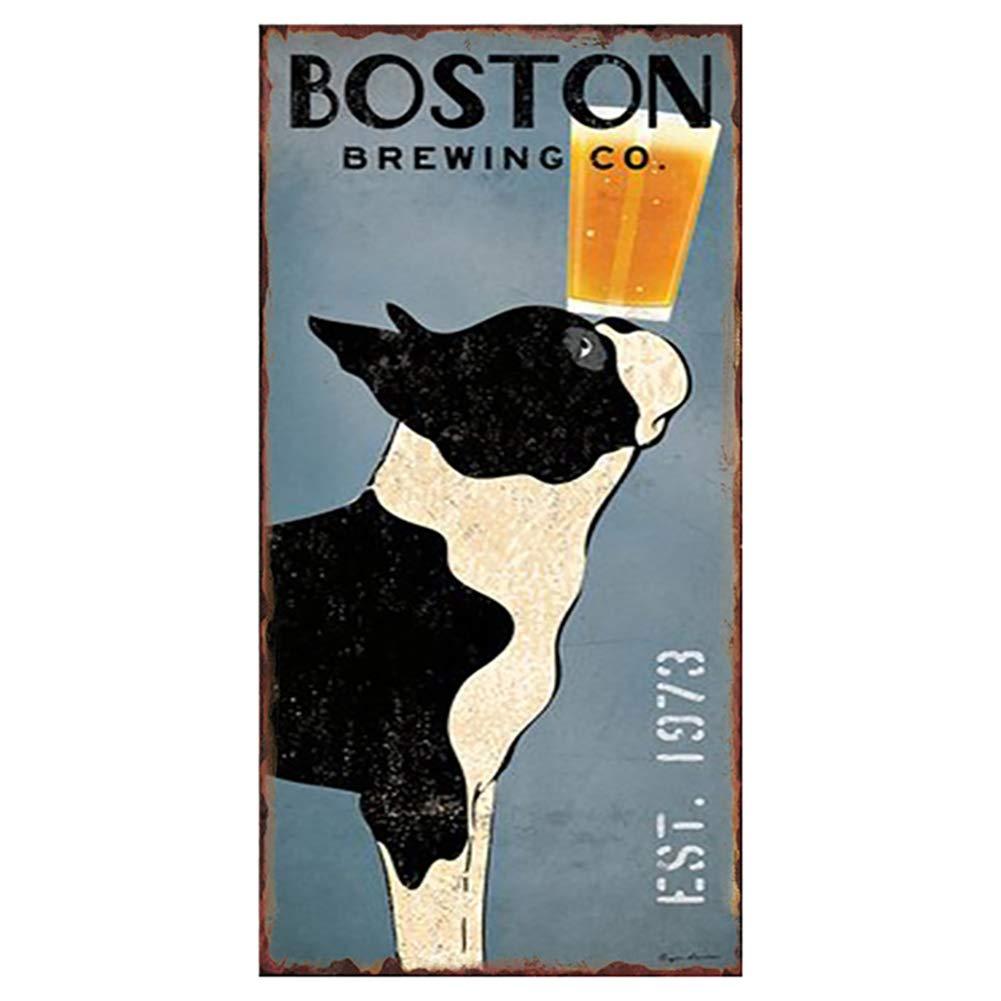 Topdo 1pcs Poster M/étallique Affiche Peinture Art D/écoratif Vintage pour Bar Caf/é Pub Vintage Poster Mural r/étro Plaque en m/étal Bar Pub 15cm*30cm Boston