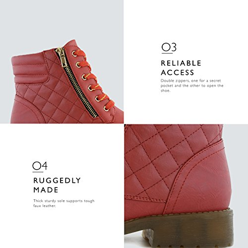 Buckle Premium Pocket Credit Ankle DailyShoes Card Boots Women's Military Up Red Combat High Exclusive Pu t7qAwU7