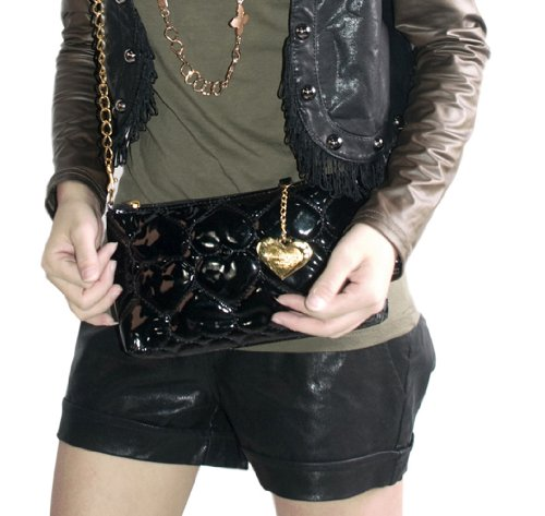 laura Negro Leatherette Fashion Para Mujer Favor Love Satchel Bolso wwrCxp6vqg