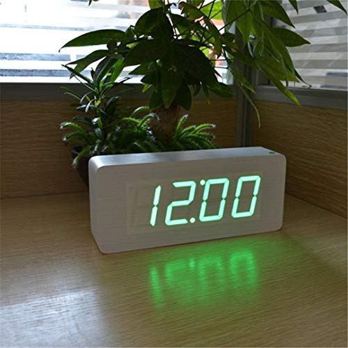 (HOMECLVS Factory Wood Alarm Clocks,Thermometer Wood LED Table Clocks with Sounds Control,Big Numbers Digital Clock White Green)