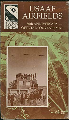 Map United States Army Air Force Airfields In Great Brition - USAAF 50the Anniversary Official Souvenir