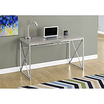 Monarch Chrome Metal Computer Desk - 48 - Dark Taupe