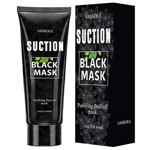 Vassoul Blackhead Remover Mask, Peel Off Blackhead Mask, Black Mask - Deep Cleansing Bamboo Activated Charcoal Peel-Off Mask for Face & Nose