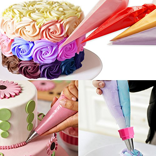 Weetiee Pastry Bag - 100 Pieces 16 Inch [Extra Thick] Disposable Piping Bags Set with 8 decorating tips, 1 coupler and 3 Bag Ties for Cake Decorating Royal Frosting