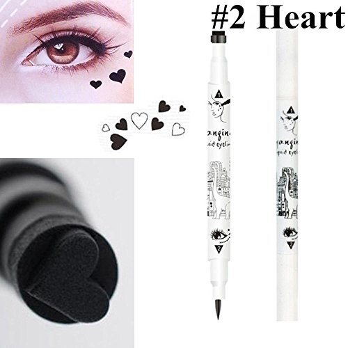 Oceaneshop Long-lasting Double Sides Black Waterproof Star Heart Tattoo Stamp Eyeliner Pencil Makeup Liquid
