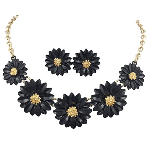 Gypsy Jewels Daisy Flower Cluster Boutique Statement Necklace & Earrings Set (Black)