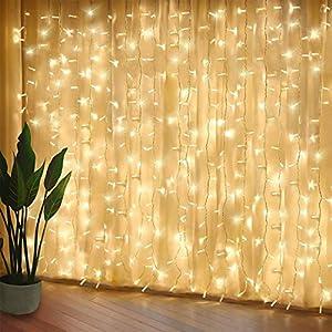 300 luci per tende a LED, 3 x 3 m,8 modalità, IP44 impermeabile, stanza, matrimonio, padiglione da giardino, Halloween,decorazioni natalizie [Classe di risparmio energetico A +++] 7 spesavip