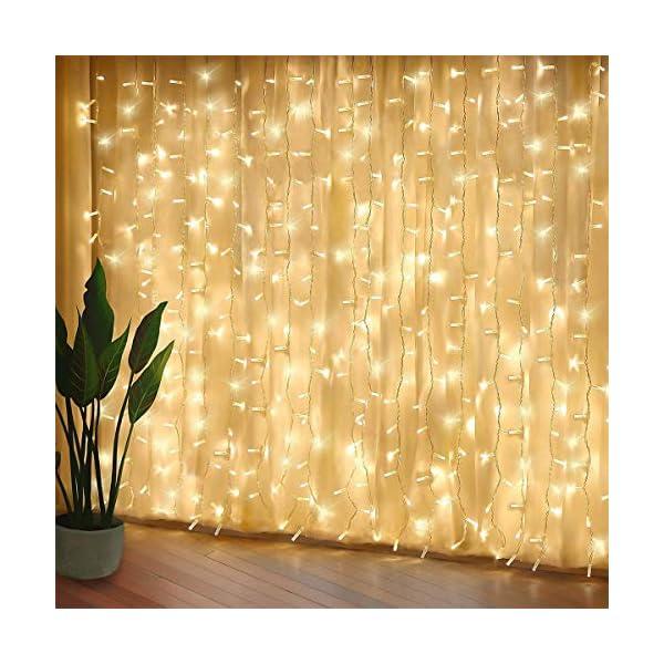 300 luci per tende a LED, 3 x 3 m,8 modalità, IP44 impermeabile, stanza, matrimonio, padiglione da giardino, Halloween,decorazioni natalizie [Classe di risparmio energetico A +++] 1 spesavip