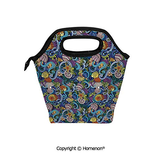 Insulated Neoprene Soft Lunch Bag Tote Handbag lunchbox,3d prited with Hand Drawn Doodles Fantastic Aquatic Animals Artistic Magical Wildlife Maritime,For School work Office Kids Lunch Box & Food Con