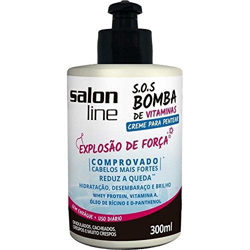 Linha Tratamento (SOS Bomba de Vitaminas) Salon Line - Creme Para Pentear Explosao De Forca 300 Ml - (Salon Line Treatment (Vitamin Bomb SOS) Collection - Power Explosion Combing Cream 10.14 Fl Oz) by Salon Line