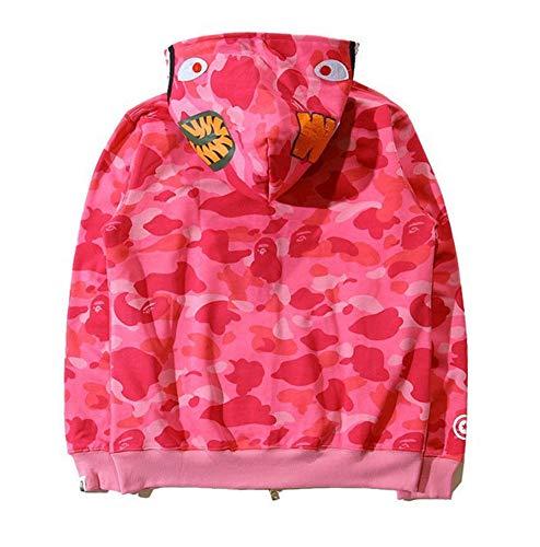 e111c4df Popular Ape BAPE Men's Shark Jaw Camo Full Zipper Hoodie Sweats Coat Jacket  (Pink, M)