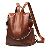 Women Backpack Purse PU Leather Anti-theft Backpack Casual Satchel School Shoulder Bag for Girls(Tan)