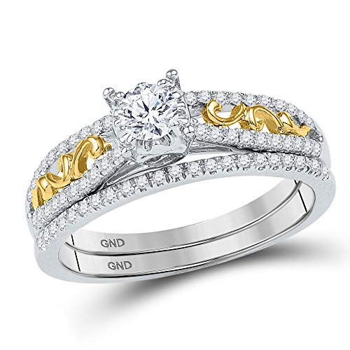 Jewels By Lux 10kt Two-tone Gold Womens Round Diamond Bridal Wedding Engagement Ring Band Set 1/2 Cttw In Prong Setting (I1-I2 clarity; I-J color) (10kt Two Tone Diamond Ring)