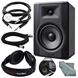 M-Audio BX5 D3 5' 100W Powered Studio Reference Monitor and Basic Bundle w/Closed-Back Stereo Headphones + Cables + Fibertique Cloth