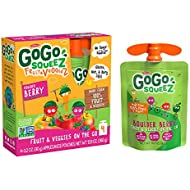 GoGo squeeZ fruit & veggieZ, Apple Carrot Mixed Berry, 3.2 Ounce (4 Pouches), Gluten Free, Vegan Friendly, Unsweetened, Recloseable, BPA Free Pouches