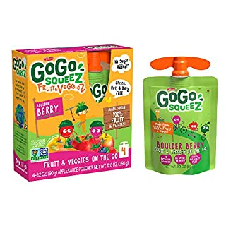 GoGo squeeZ fruit & veggieZ, Apple Carrot Mixed Berry, 3.2 Ounce (48 Pouches), Gluten Free, Vegan Friendly, Unsweetened, Recloseable, BPA Free Pouches